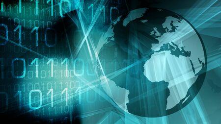 Future technology world problems, global big data cybersecurity Stock Photo