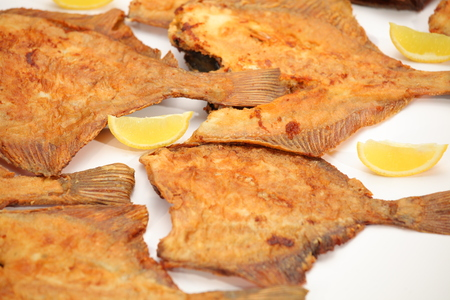Closeup fried flounder fish