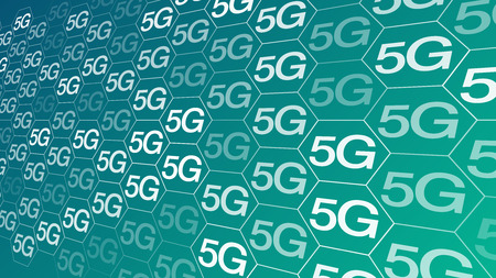 5G technology, new wireless mobile telecommunication connection system Illustration
