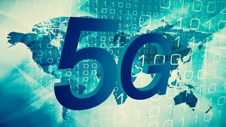 Symbol 3d of 5G mobile technology Stock Photo