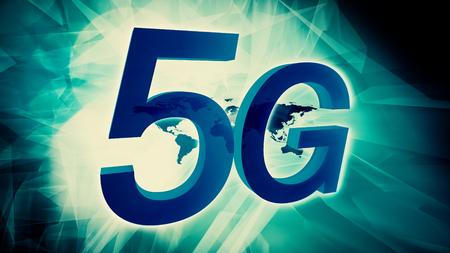 5G technology symbol 3d conception