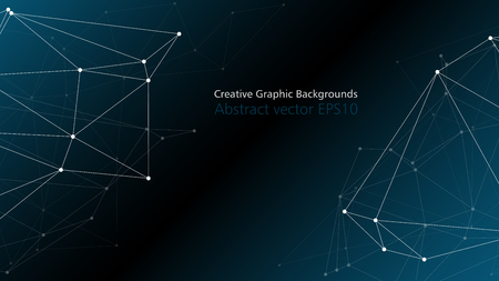 Digital tech neural network connections, polygonal abstract background with copy space