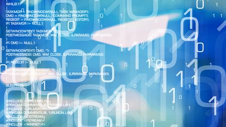 Flujo de datos digitales, red informática infectada, ciberataque