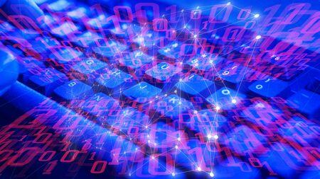 Algoritmo informático de inteligencia artificial, conexiones de formas abstractas Foto de archivo