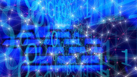 Flusso di streaming digitale, rete di computer in ufficio informatico cyber
