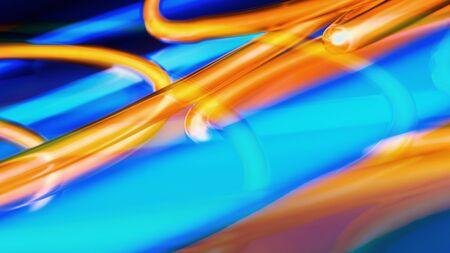 Blue orange neon lamp abstract background