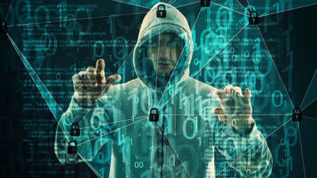 Spy man using holographic technology, cyber threat