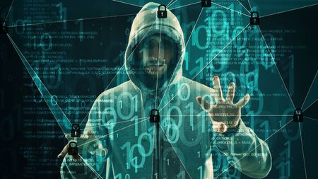Cyber warfare attacks, binary code artificial neural network 写真素材