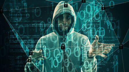 Cyber hacker breaking the code, abstract lines connected