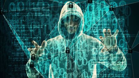 Cybercrime cyber threat, binary bots attack Stock Photo
