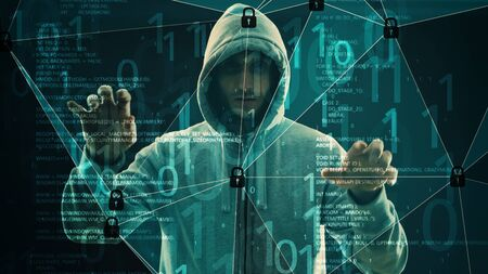 Cyber crime security spy man, sci fi concept