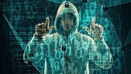 Cyber threats, computer numbers zeros ones binary code 写真素材