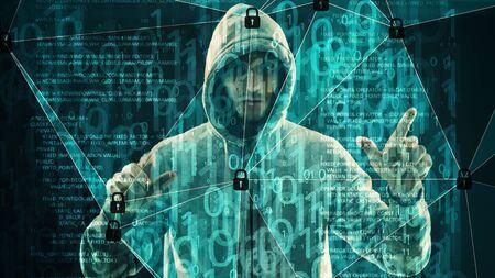 Computer hacker hands cyber crime