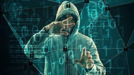 Man hacker binary code and locked padlocks