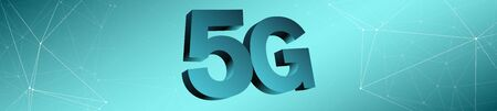 3d symbol of 5g network, wide background conception