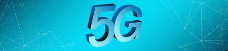 5G network long banner concept, copy space