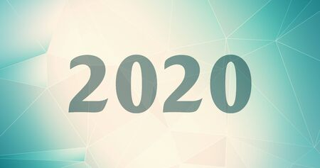 Graphic template triangular illustration chaos 2020 connected, digits background calendar geometric