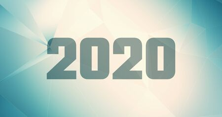 Abstract 2020 gradient background calendar, template triangles 2020 digits Stock Photo