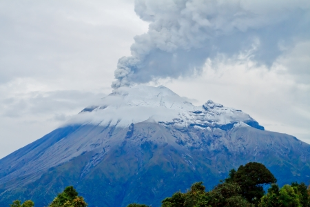 ash cloud: Closeup of Tungurahua Volcano eruption Stock Photo