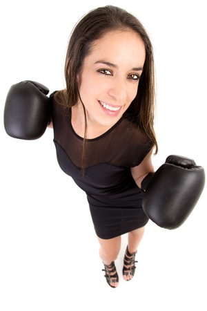 woman boxing, concept image of beautiful strong  photo