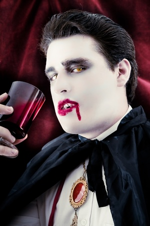 Dangerous male vampire Drinking blood Stock Photo - 15455308