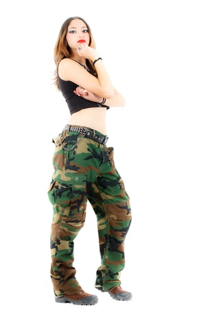 sexy army girl: woman in military clothes, white background Stock Photo