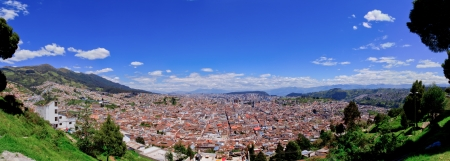 Panoramic view of Quito in Ecuador blue skyes photo