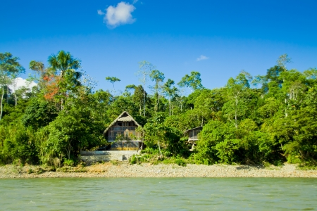 amazon rain forest: Amazon Huts with river and blue skyes