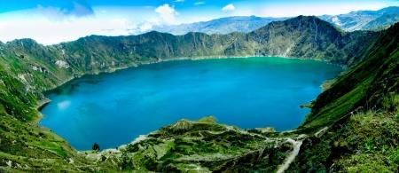 Volcano crater lake panorama, Quilotoa, Ecuador photo