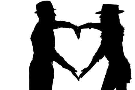 silouette: couple silouette photography forming a heart Stock Photo