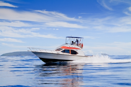boating: Motorboat, route on the Ocean