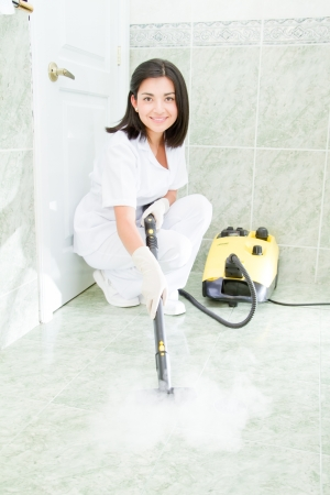 Young woman cleaning the bathroom Stock Photo