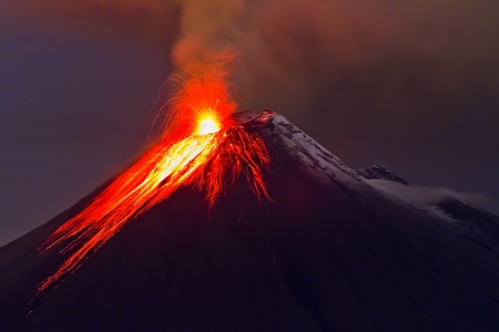 eruption of the volcano with molten lava photo
