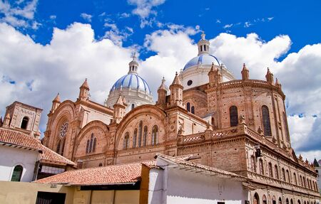 conquistador: New cathedral in Cuenca with blue sky