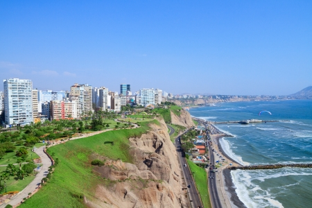 peru architecture: View of Miraflores Park, Lima - Peru Stock Photo
