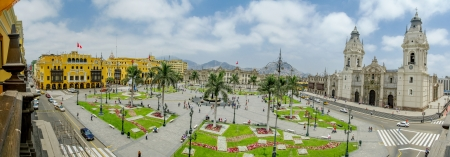 Plaza de armas in Lima, Peru 180 view Banco de Imagens