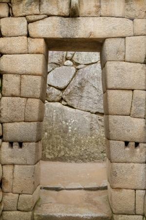 incan: doorway of the temple of Machu Picchu, Peru