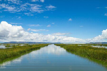 Landschap van een meer adn skyes Stockfoto