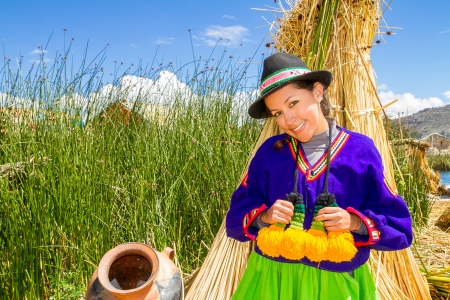 latin woman in national clothes  Peru  s  america photo