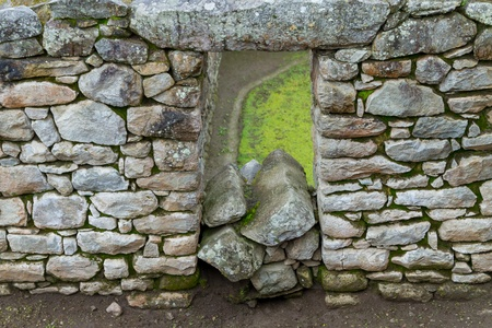 Fragment of the old wall of the Machu Picchu Ruins Stock Photo - 17991057