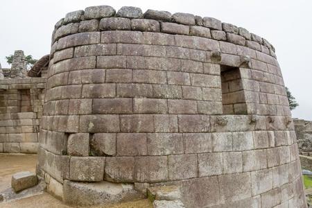 incan: Ruins of Sun temple in Machu Picchu city Stock Photo
