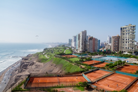 miraflores: View of Miraflores Park, Lima - Peru Stock Photo