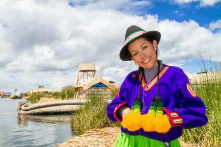Indian woman in Peru at lake Titicaca