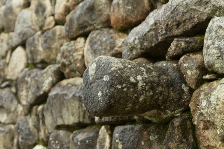 Inca wall in the ancient city of Machu Picchu photo