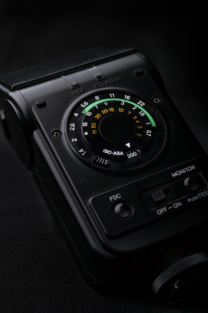 Macro shot of a flash control system of a camera photo