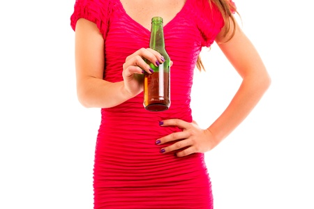 pinay: lady, in dress while holding a bottle of drink Stock Photo