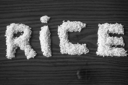white rice forming a sign photo