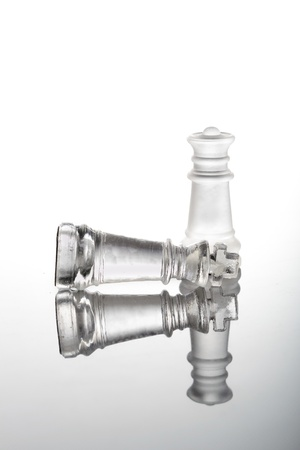 Check mate chess glass pieces  photo