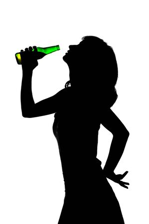 young girl drinking beer, silhouette photo