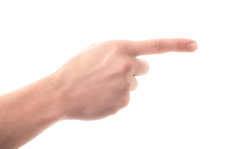 Letter  G  in sign language, on a white background photo